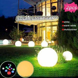 2Pcs Solar LED Ground Light Ball Lamp Outdoor Garden Yard Path Decor Waterproof