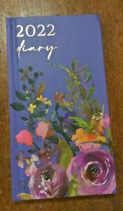 2022 Tallon slim diary purple/lilac floral diary week to view hard back