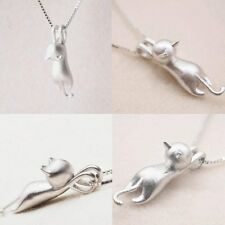 Women 925 Sterling Silver Plated Brushed Cat Pendant Chain Necklace Jewelry Gift