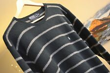 POLO RALPH LAUREN Green White striped Jumper 100% Lambs wool Jumper Mens Sz XL