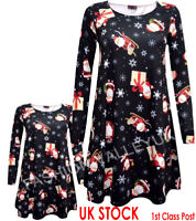 BABIES GIRLS MOTHER AND DAUGHTER  XMAS SWING DRESS CHRISTMAS BLACK SANTA SLEIGH