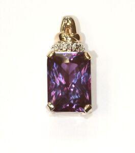 925 Sterling Silver .01ct SI1 H emerald amethyst gemstone pendant 4.8g unique