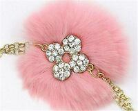 Pink Rabbit Fur Key Chain with Tassels and Clear Crystal Accent
