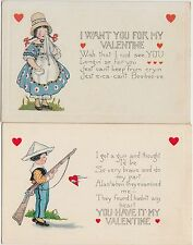VALENTINE'S DAY Love 2 Postcards Holiday Greetings Whitney Made GUN Girl 110