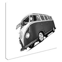 VW Camper Van Black And White Canvas Wall Art Print Large + Any Size