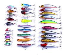 Lot 30pcs Assorted Minnow Fishing Lures Bass Crankbait Sharp Hooks Tackle