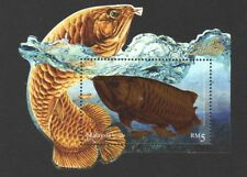 MALAYSIA 2018 ORNAMENTAL FISHES (GOLDEN AROWANA) SOUVENIR SHEET OF 1 STAMP MINT