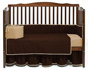 Unisex Baby Crib Reversible Bedding Set Fitted Pillowcase Skirt Comforter Bumper