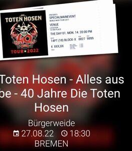 8 Tickets DIE TOTEN HOSEN in Bremen Der Preis Beläuft Sich Auf Ein Ticket!