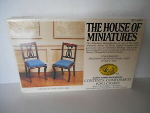 HOUSE OF MINIATURES FURNITURE LYRE BACK CHAIRS X 2 VINTAGE 1980