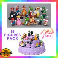 18 Figures Super Mario Bros Toy Set Luigi Toad Yoshi Cake Toppers Party Kid Gift