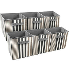 Sorbus Foldable Storage Cube Basket Bin, 6 Pack, Vertical Stripe Line  Pattern