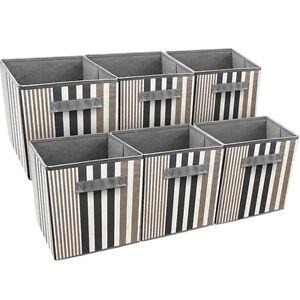Sorbus Foldable Storage Cube Basket Bin, 6 Pack, Vertical Stripe Line Pattern