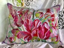"""DESIGNERS GUILD EMBROIDERED STELLETA TULIPS RED  BOLSTER/PILLOW 60X45CM /24X18"""""""