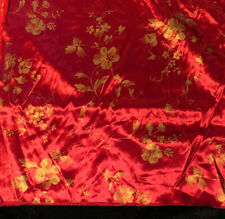 New listing Vintage Red Silk Fabric Asian Floral Hargro Fabrics Gold Flowers 8.5 Yards 8604