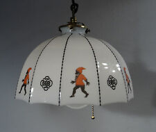 Antike Opalglas Schirm Zwerg Motiv Leuchte Deckenlampe Art Deco Lampe 1900- 20