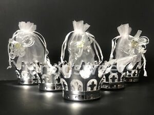 12PC Baby Shower Favors Fillable Crown Party Decorations Girl Boy Princess Silve
