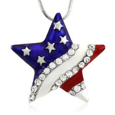 4th of July Independence Day American USA US Flag Star Pendant Necklace Charm u1