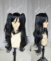 Maid Lolita Long Black Clip Ponytail Cosplay Party Wig Hair