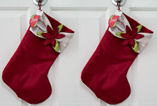 Set of 2 Rainbow Brothers Limited Red Shiny Christmas Stocking With Flower