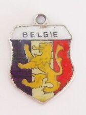 BELGIE   Belgium      vintage Silver Shield Enamel Travel Bracelet Charm
