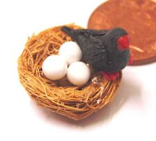 1:12 Scale Tumdee Dolls House Miniature Black Bird In A Nest With 3 Eggs