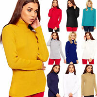 Ladies Knitted Polo Jumper ribbed Long Sleeve High Roll Neck Top jumper 8-16