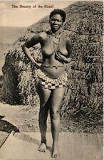 PC ETHNIC NUDE FEMALE NATIVE KRAAL TYPE GIRL AFRICA Vintage Postcard (b602)