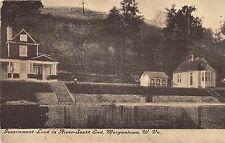 West Virginia postcard Morgantown Government Lock in River-South End ca 1908