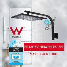 Square 10'' 250MM Full Brass Shower Head Wall Gooseneck Arm Set Watermark Wels