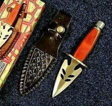 "7.5"" Double Edged Dagger Knife Fancy Heart Shaped Blade w/Cutouts Leather Sheath"