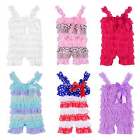 Toddler Jumpsuit Photo Dress Baby Girls Ruffle Lace One Piece Petti Sling Romper