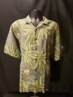 Tommy Bahama Linen Green Camp Birds Shirt Hawaiian Floral Print 100% Mens Large