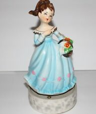 VINTAGE TILSO REVOLVING MUSICAL FIGURINE /BOX  HAPPY BIRTHDAY 1950'S