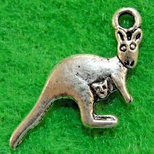 50Pcs. WHOLESALE Tibetan Silver 2-Sided KANGAROO Charms Pendants Ear Drops Q1096
