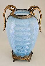 "Bohemian Art Deco Agua Blue Ribbed Spatter Glass Vase 11.5"" Gilt Metal Mounted"