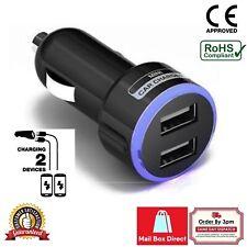 CAR CHARGER DOUBLE USB TWIN 2 PORT DUAL 12-24V CIGARETTE SOCKET LIGHTER BLACK-W