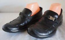 Prada Ladies Black Leather Loafers Slip On Shoes Women's 38.5