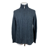 Eddie Bauer Cardigan Sweater Small Women Dark Gray Chunky Cable Knit Full Zip Up