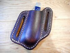 Case Trapper or similar size pancake leather knife Sheath. Dark Oiled Brown