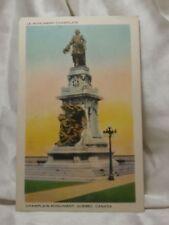 QUEBEC Canada Unused Post Card Statue Monument Le Monument Champlain Vintage