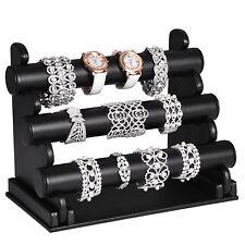 3er Schmuckständer Armbandständer Schmuckhalter Uhrenständer Kunstleder Schwarz