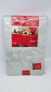 Christmas Rectangle Tablecloth 60 x 144 Christmas Ribbons  Platinum Damask