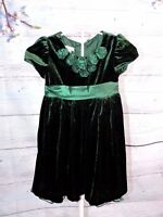 Bonnie Jean Holiday Dress Christmas Green Velvet Tulle Party Satin Bow Girls 5