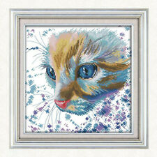 Watercolor Cat Stamped Cross Stitch Kit Needlework for Beginner 14CT 32x32cm