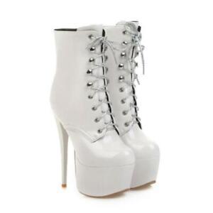 Womens Stilettos High Heels Lace Up Ankle Boots Platform Shoes Party Shoes Pump