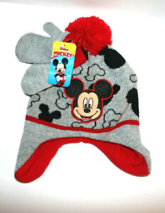 NEW Baby Boys DISNEY Mickey Mouse Winter Beanie Ski Hat Matching Mittens One Sz