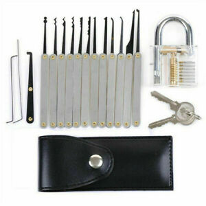 15PCS Practice Lock Pick Set Padlock Locksmith Lockpick Unlocking Key Tools Kit