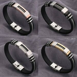 Fashion Men Stainless Steel Silicone Bracelet Wristband Cuff Punk Bangle Jewelry