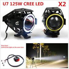 2Pcs CREE U7 Angel Eyes Light 125W Motorcycle Headlight LED Fog Spotlight+Switch
